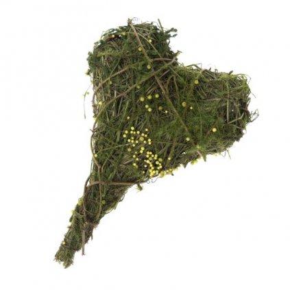 Prútené srdce prírodné zelené 16×21×2cm