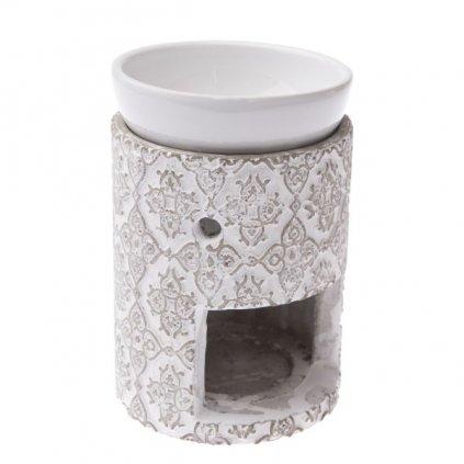 Keramická aromalampa šedo biela 9,5×12×9,5cm