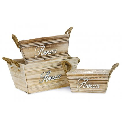 Obal drevený s igel.vložkou, sada 3 kusov
