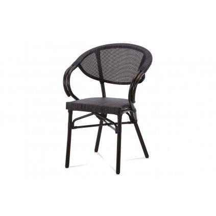 záhradná stolička, kov hnedý, textil čierny 57x58x82x45 cm
