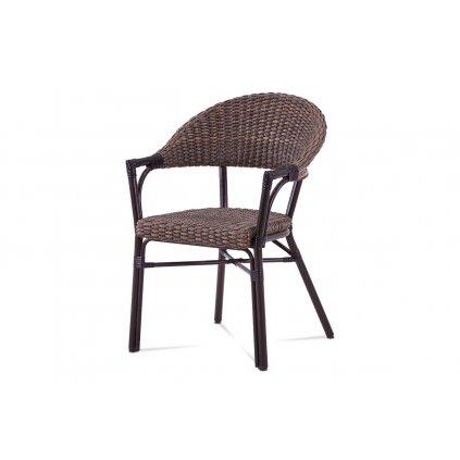 záhradná stolička, hnedý kov, hnedý ratan 57x61x85x46 cm