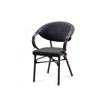 záhradná stolička, hnedý kov, čierny ratan 58x60x85x46 cm