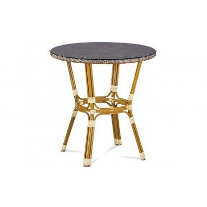 záhradný stôl, kov zlatý, látka cappuccino