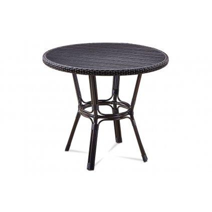 záhradný stôl, kov hnedý, umelý ratan čierny, polywood čierny