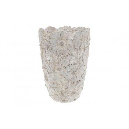 váza betónová na kvety dekorom kvetov 17x25x17cm