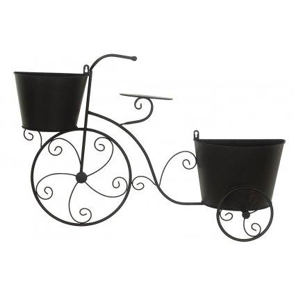 Veľký kovový bicykel s obalmi na kvety, farba čierna 74.5*14*49CM
