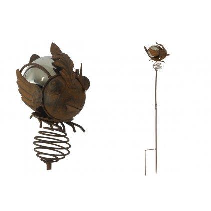 Vtáčik, zápich, kovová záhradná dekorácia 20x10x109CM