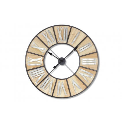 Hodiny nástenné, preglejka / kov, pr. 90 cm