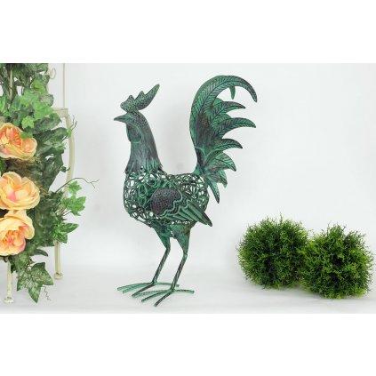 Dekoračný kovový kohút, zelená farba
