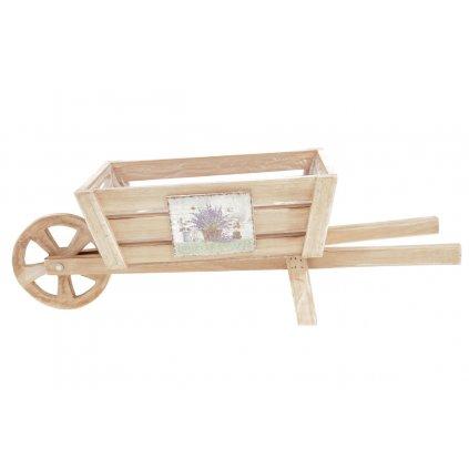 Truhlík na květiny dřevěný s igelitovou vložkou, tvar vozíku s dekorem levandulí