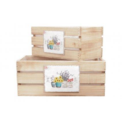 debničky drevené s igelitovou vložkou a dekórom kvetín, cena za 3ks