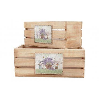 debničky drevené s igelitovou vložkou a dekórom levanduli , cena za 3ks