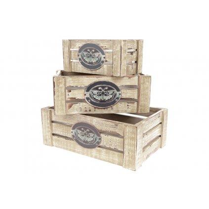 debničky drevené s igelitovou vložkou a dekoračným štítkom, cena za 3ks