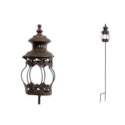 svietnik, kovová dekoracia na zapichnutie do záhrady s vnútorným sklom
