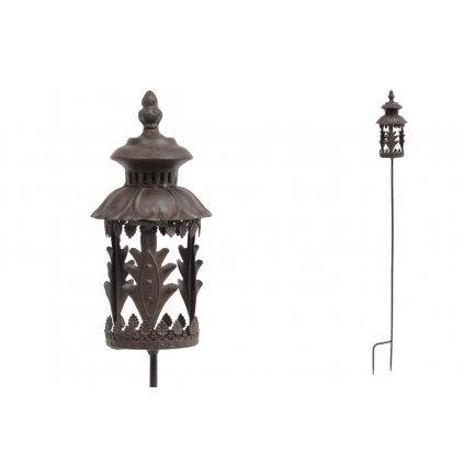 svietnik dekorácia, kovová na zapichnutie do záhrady s vnútorným sklom