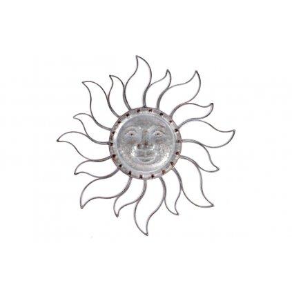Slunce, kovová dekorace na zavěšení, barva stříbrná