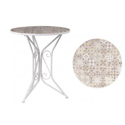 Záhradný stôl, doska z keramickej mozaiky, kovová konštrukcia, biely matný lak (typovo ku stoličke US1001)