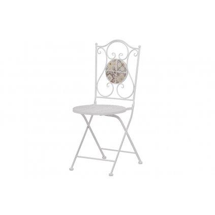 Záhradná stolička, keramická mozaika, kovová konštrukcia, biely matný lak (typovo ku stolu US1000)