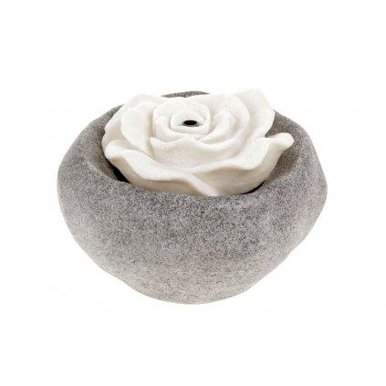 Záhradna fontána s LED osvetlením, čierny polyresin v dekore kameňa a biela piesková ruža, elektrické čerpadlo 240V/12V