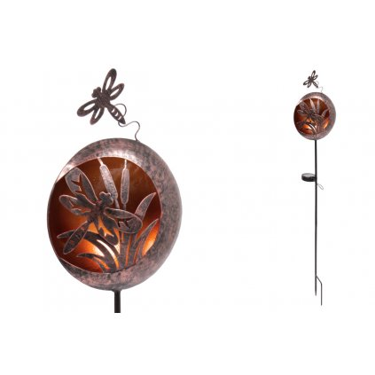 Koule s vážkou s LED světlem, kovová zahradní dekorace, zápich (baterie na solární dobíjení)