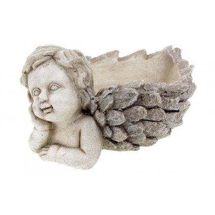 Anjel, dekorácia z MgO keramiky s otvorom na kvetináč 35x28,5x16cm