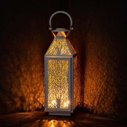 Kovový lampáš biely 13×40×13cm