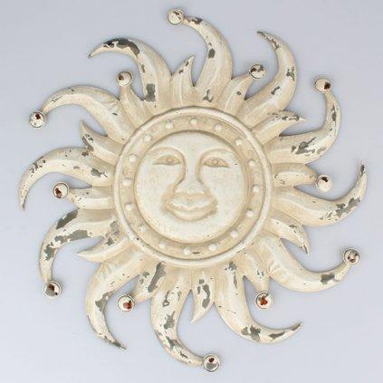 slnko kovové nastená dekorácia krémové vintage 50×50×2cm