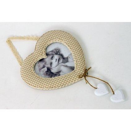 Látkový fotorámik v tvare srdiečka- karo 18,5x18,5 cm