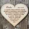 """BIBLICKÝ TEXT NA DREVE  SRDCE ZÁVES """"Láska je trpezlivá..."""" 1Kor. 13,4-8"""