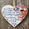 "BIBLICKÝ TEXT NA DREVE  ZÁVES SRDCE ""Kde je viera, tam je láska...."""