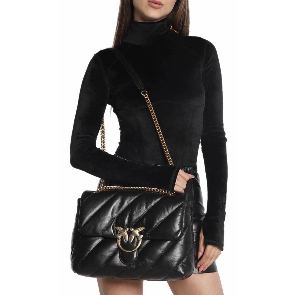 Černá kožená kabelka - PINKO | Love Big Puff Maxi Quilt
