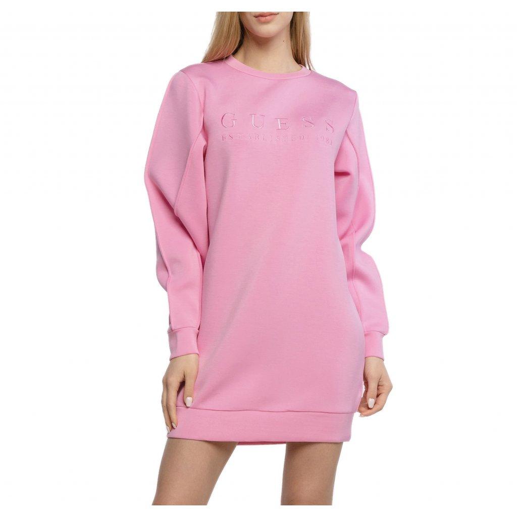 Růžové mikinové šaty - GUESS