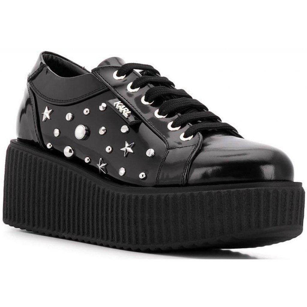 Černé kožené sneaker tenisky  - KARL LAGERFELD