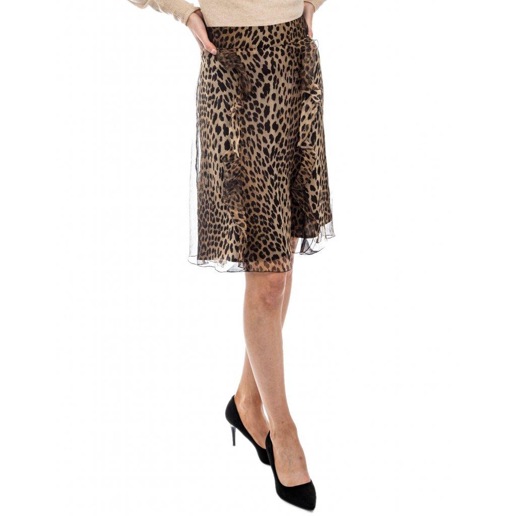 Hedvábná sukně se zvířecím vzorem - LOVE MOSCHINO
