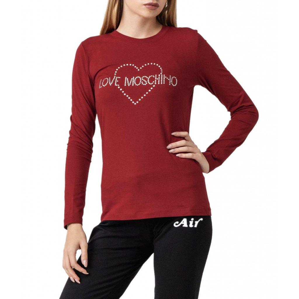Tmavě červené tričko s dlouhým rukávem - LOVE MOSCHINO