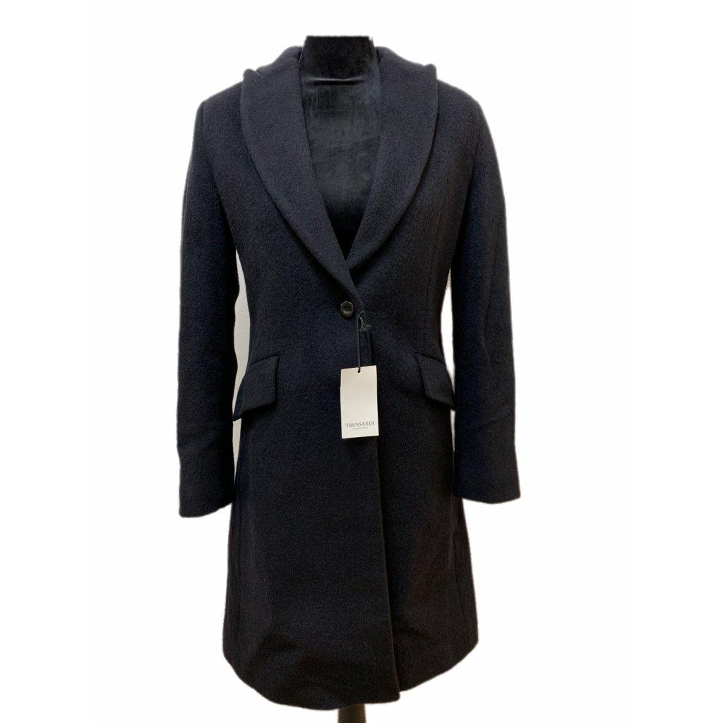Černý vlněný kabát s příměsí kašmíru - TRUSSARDI COLECTION