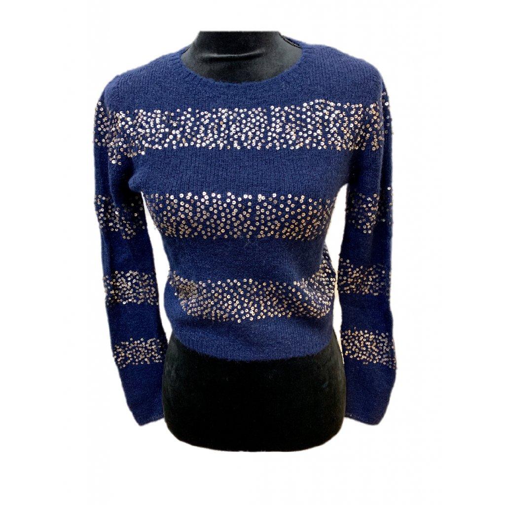 Modrý svetr s pruhy s flitry - TOMMY HILFIGER