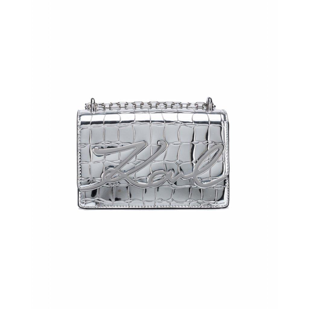Stříbrná lakovaná kabelka - KARL LAGERFELD
