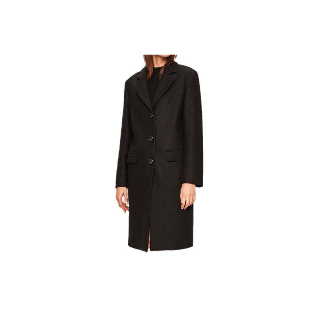 Černý vlněný kabát - LOVE MOSCHINO
