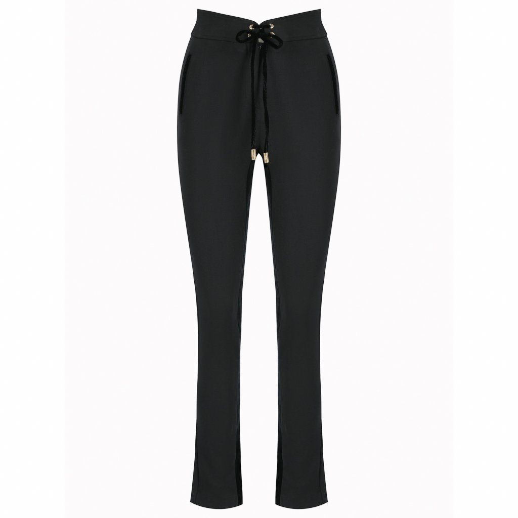 cavalli class kalhoty z materialu a1iua107 cerna slim fit