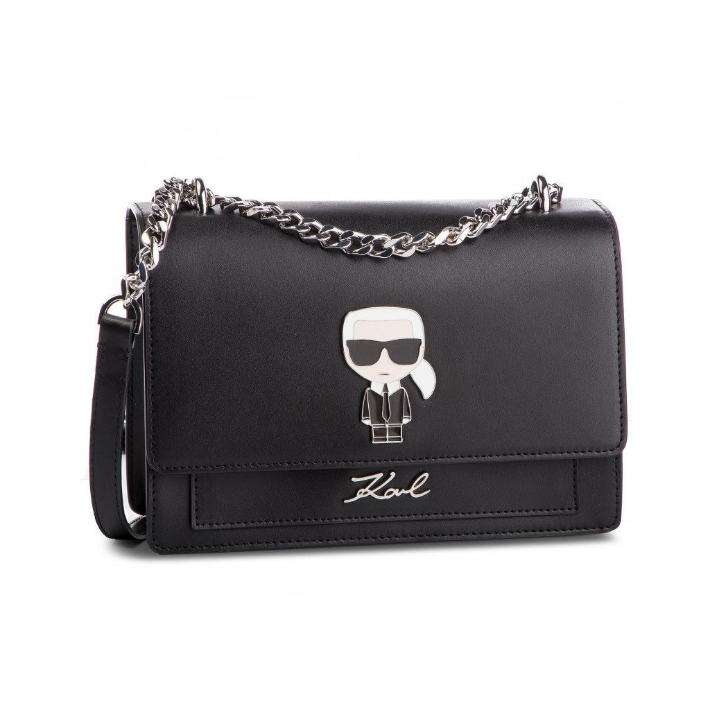 Černá kožená kabelka - KARL LAGERFELD   ikonik