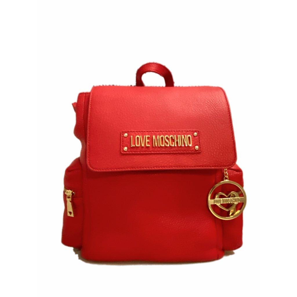 Červený kožený batoh - LOVE MOSCHINO