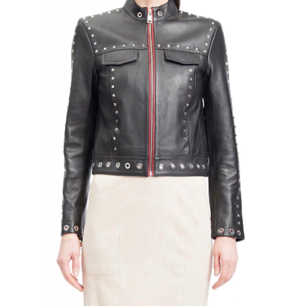 Černá kožená bunda - KARL LAGERFELD