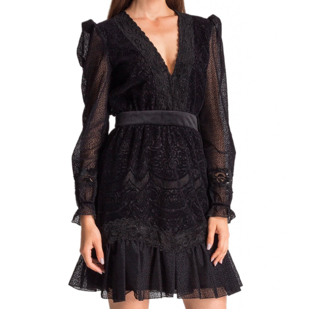 pol pl Czarna koronkowa sukienka z delikatna falbana 28440 2 cut
