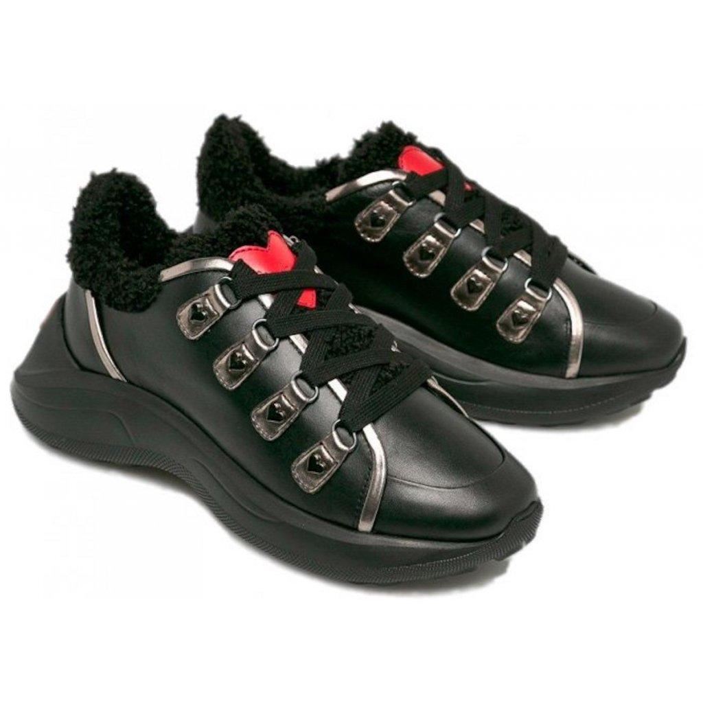Černé kožené zateplené boty - LOVE MOSCHINO