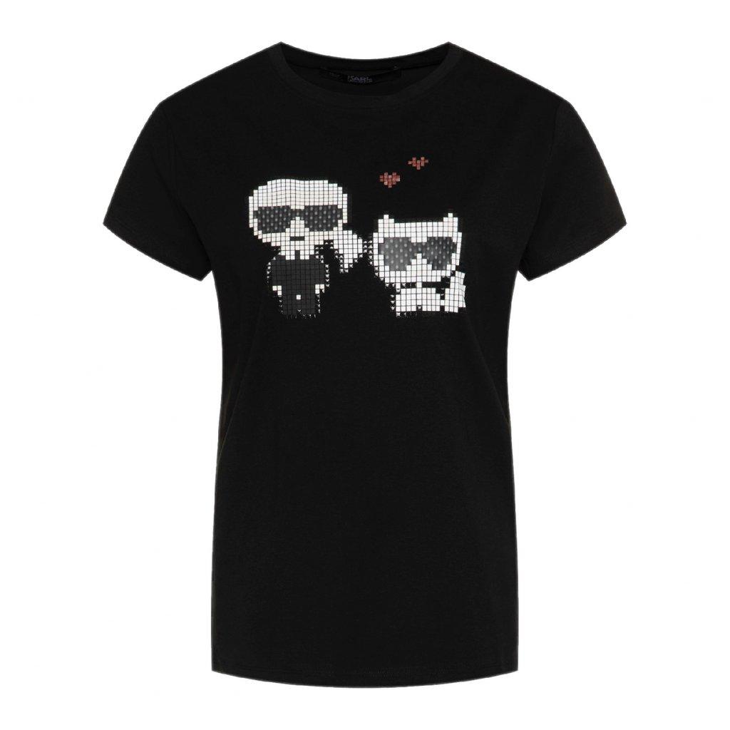 karl lagerfeld t shirt pixel choupette 201w1723 cerna regular fit 4 cut