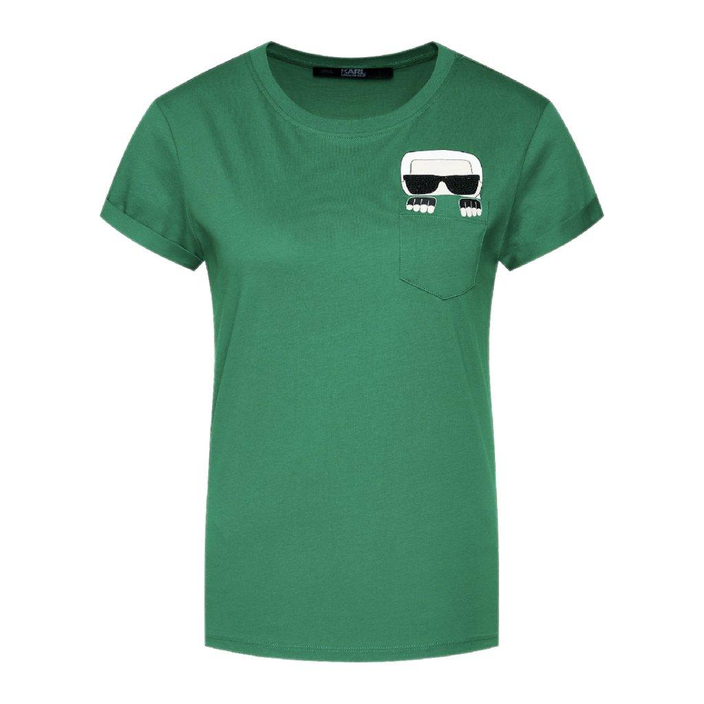 karl lagerfeld t shirt ikonik karl pocket 205w1701 zelena regular fit 5 cut