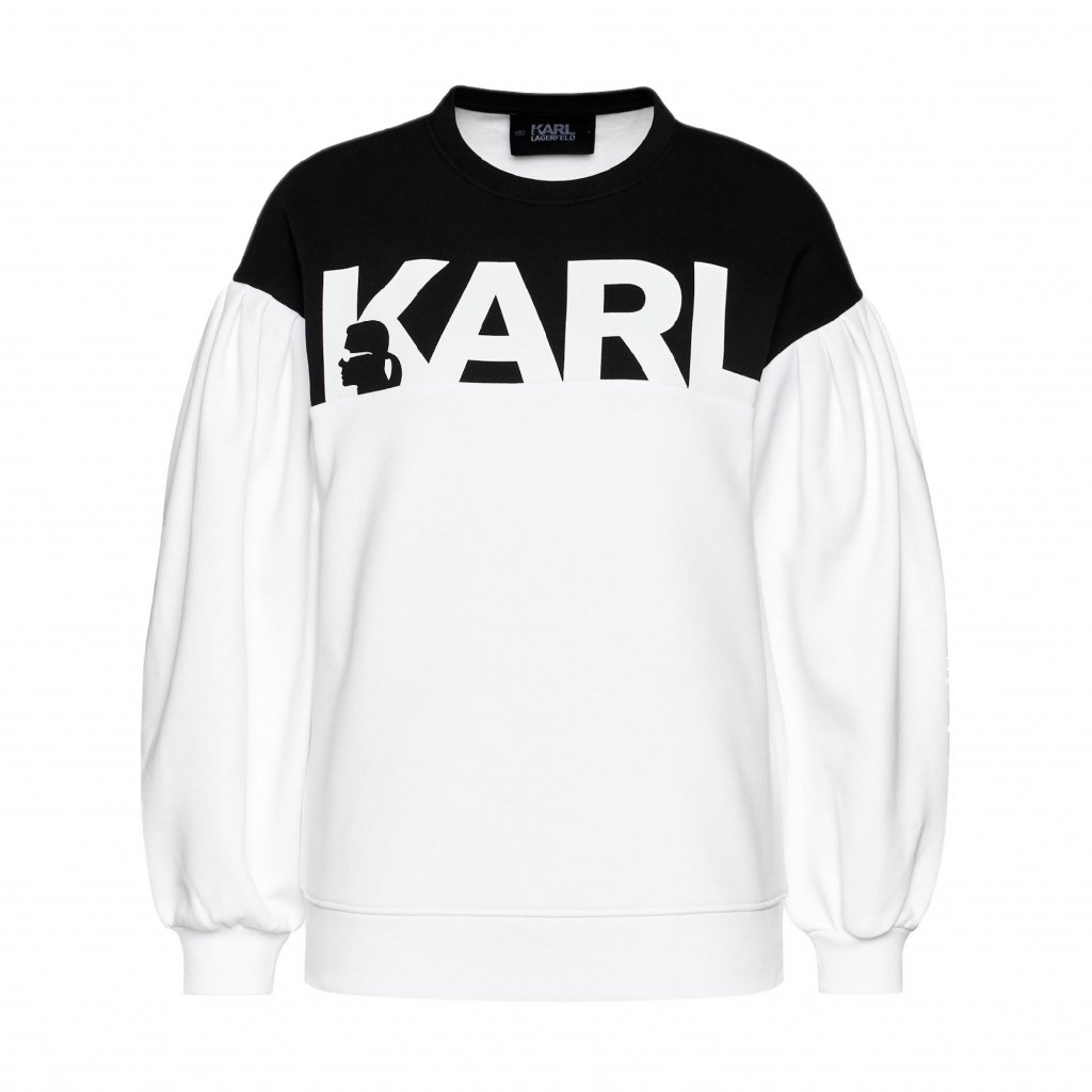karl lagerfeld mikina logo 205w1814 biela relaxed fit 4 cut