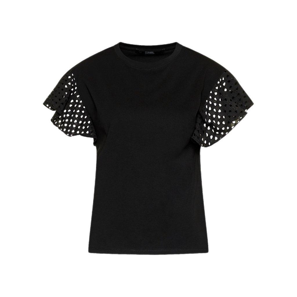 karl lagerfeld t shirt karl lace ruffle 201w1708 cerna regular fit 4 cut