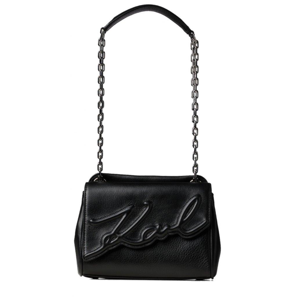 Černá kožená kabelka - KARL LAGERFELD | Signature